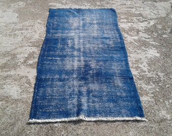 """Big Sale %50 off overdyed rug,anatolian vintage turkish rugs,decorative area rugs,handwoven carpets,natural wool carpet 3'1""""x 6'2"""" ft"""