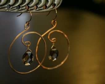 smoky quartz hammered wire earrings