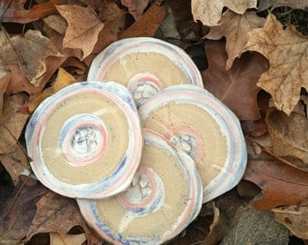 Paw Print Set of Coasters - absorbent, stoneware, handmade pottery