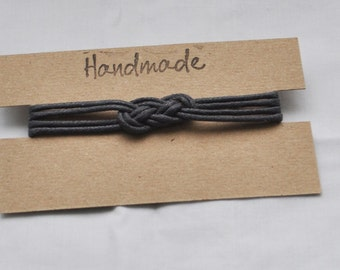 Handmade Charcoal Grey Macrame Knot Bracelet