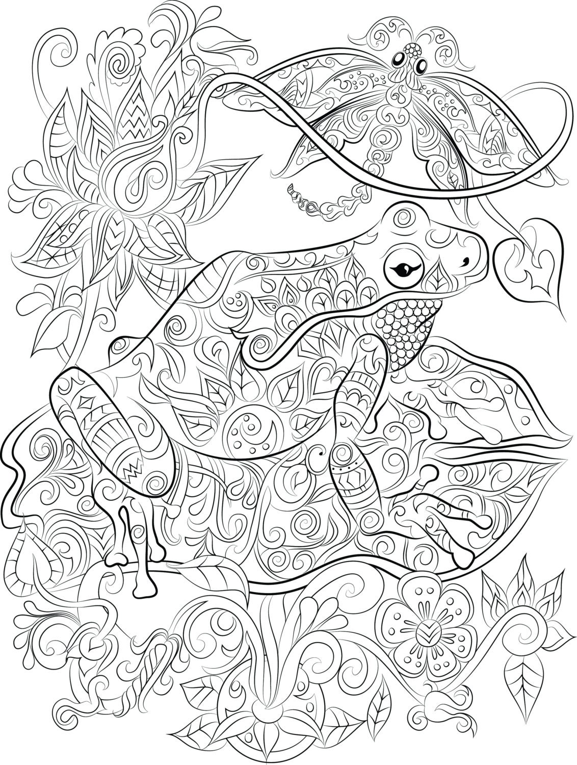 frog and lily pad coloring pages - frog on a lily pad instant digital download
