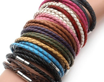 Braided leather bracelet with magnetic clasp