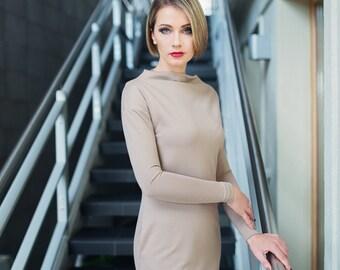 Womens elegant dress - Womens beige dress - Dress with pockets - Womens casual dress - Women spring dress - Business dress - ND122S