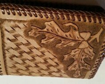 Handmade Leather Wallet basket weave and leaves