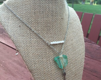 Silver Chain with Turquoise Crystal Necklace