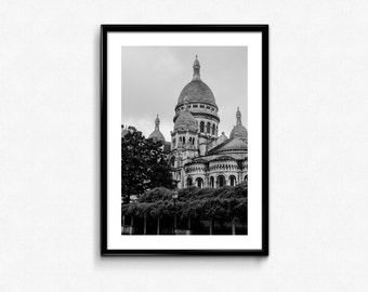 Basilique du Sacré-Cœur / Montmartre / Paris / France / Black and White / Decoration / Photo Frame / Fine Art