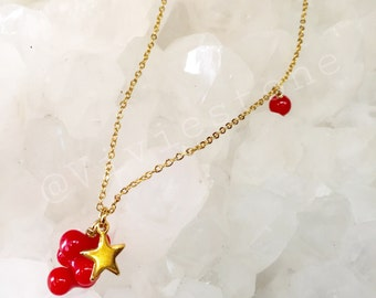 Coral gold - plated steel necklace