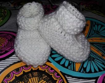 Newborn white baby booties