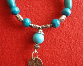 Divine bracelet turquoise beads and silver charms