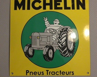 French enameled bombed arched MICHELIN sign metal vintage tracteur