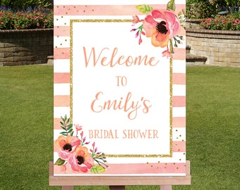 Peach Stripes and Flowers Bridal Shower Welcome Sign-Peach Flowers Welcome Sign-Flowers Wedding Shower Sign -11x14 16x20 20x30-BSW31