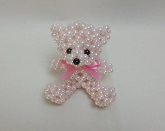 Pink Beaded Bear Designed and Crafted
