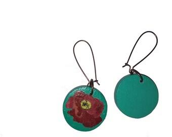 Wooden earrings, poppy, green, red, flower
