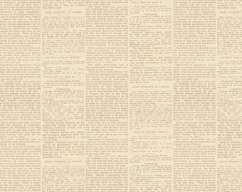 Cream Newsprint, Text Fabric