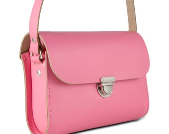 Baby Pink Small Leather Crossbody/Shoulder Bag, Made in London