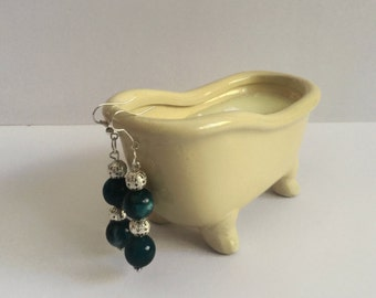 Green and silver dangling earrings