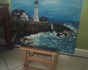 Cape Elizabeth Lighthouse oil painting