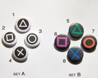 "Sony Playstation Buttons 1"" Pinback Buttons / Pins / Badges"