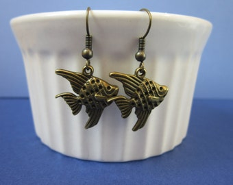 Fish in the Sea Earrings-antique bronze