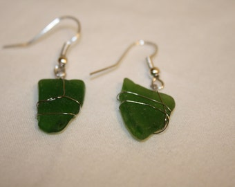 Olive/Light Green Sea Glass Earrings