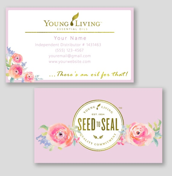 floral young living business cards custom essential oils