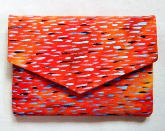 Hand Painted Canvas Envelope Clutch Purse in Abstract Red-Orange/Artist Bag/Fabric Small Bag