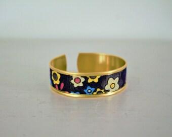 Ornate black fabric Cuff Bracelet