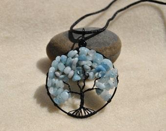 Tree of Life Aquamarine Chip Pendant - Item 031