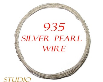 935 sterling silver pearl wire - 4 inch (10 cm)