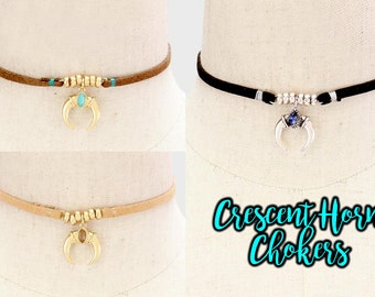 Crescent Horn/Moon Choker Necklaces