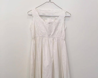 White Floral Top Detail Mini Summer Dress - Vintage - Size Small