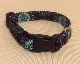 Turquoise Aztec Flower Dog Collar
