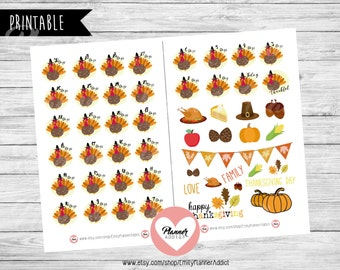 50% OFF SALE Thanksgiving Countdown Stickers,Turkey Planner Stickers,Holiday Planner Stickers,Countdown Stickers, Turkey Countdown,COD57