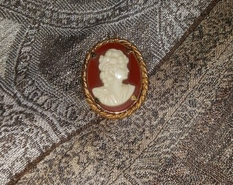 Vintage Red and White Cameo