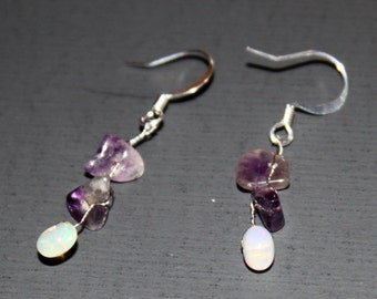 Opal and Amethyst Earring