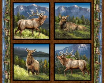 """Elkmont Ridge Fabric Elk Pillow Panel From Springs Creative.  Each individual panel is 16""""x15 1/2"""""""