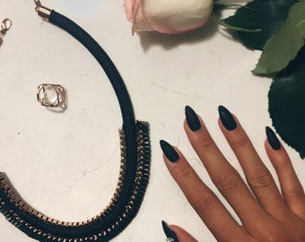The Morgan - Matte Black Swarovski Kitten Claws (Stiletto/Talon) with Black Swarovski Tips & Accent Nails - Fake Nails - Press-On Nails