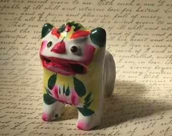 Vintage Clay Roaring Tiger/Children Toy/Folk Art