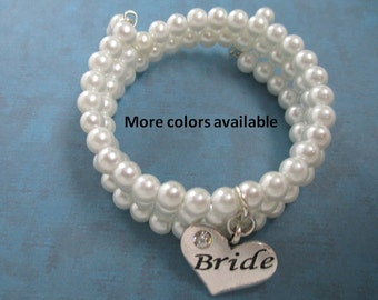 Bride Expandable Multi-Layer Charm Bracelet-Bride Jewelry-Bride gift-Bride bracelet-Bridal Party gift-Bridal gift-Wedding shower gift, B226