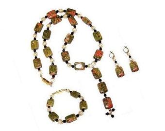 Unakite Semiprecious 3 Piece Jewelry Collection