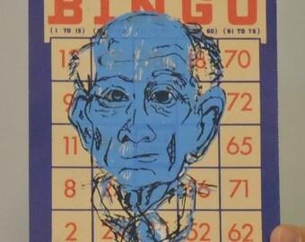 Bingo night for the Elderly 1- screenprint on vintage bingo card
