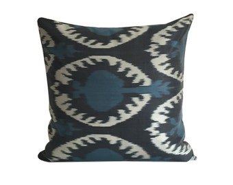 Ikat Cushion Black Blue IKAT Pillow Cover, 45 x 45 cm