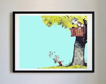 Calvin and Hobbes #112 - Treehouse - Nursery Art Print, Decor, Poster, Picture, Childrens Art, Kids Room