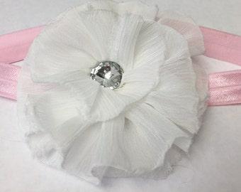 Fluffy White Flower Baby Headband
