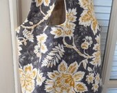 Everything Bag in Soft Charcoal Gray and Goldenrod Floral with Gray Lining