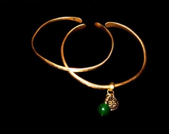 Fired Hand hammered Brass and Copper Bangle with Charms