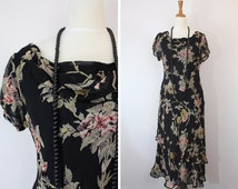 1930's style vintage dress / 90's does 30's long dress / gatsby dress / 30's style / bust 36-38