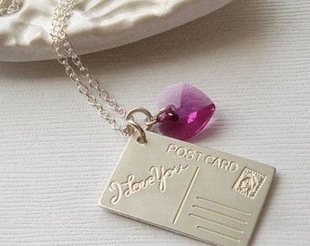 I Love You Postcard Necklace.