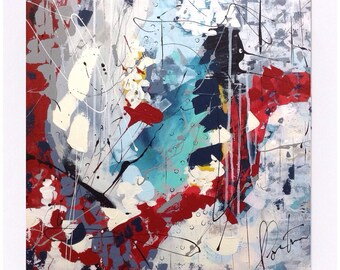 Large painting abstract on canvas Gallery. Contemporary art. Acrylic paint. 24