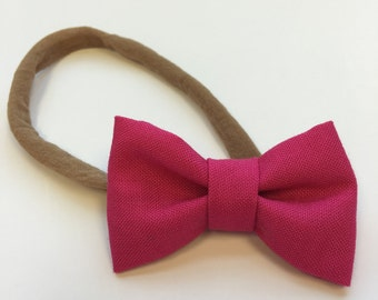 Mini Fabric Bow ~ Pink